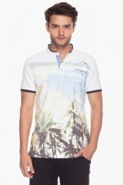 Mens Short Sleeves Mao Collar Slim Fit Printed T-shirt