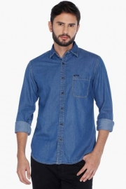 Pe Pe Mens Full Sleeves Casual Slub Shirt