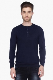 Mens Full Sleeves Henley Neck Solid Sweater