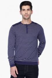 Mens Full Sleeves Henley Neck Stripe Sweater