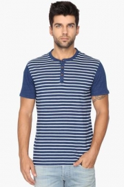 Mens Regular Fit Henley Neck Stripe T-shirt