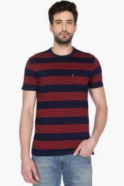 Mens Short Sleeves Round Neck Stripe T-shirt