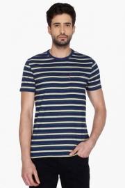 Mens Short Sleeves Round Neck Stripe T-shirt