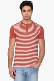 Mens Regular Fit Henley Neck Stripe T-shirt