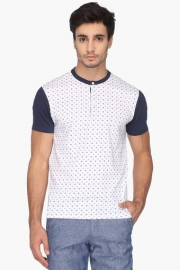 Mens Regular Fit Henley Neck Printed T-shirt