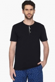 Mens Regular Fit Henley Neck Solid T-shirt