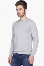 Mens Full Sleeves Henley Neck Slub Sweater