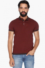Mens Short Sleeves Stripe Polo T-shirt