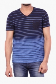 Mens Short Sleeves V Neck Stripe T-shirt (rock Fit)