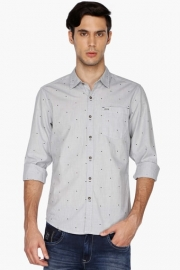 Mens Full Sleeves Slim Fit Casual Dotted Shirt