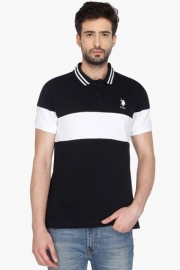 U.s. Polo Mens Short Sleeves Colour Block Polo T-shirt