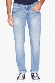 Mens 5 Pocket Mild Wash Whiskered Jeans