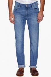 Mens 5 Pocket Mild Wash Whiskered Jeans