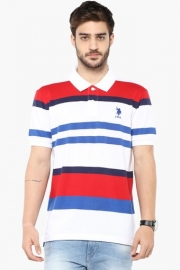 U.s. Polo Mens Slim Fit Stripe Polo T-shirt
