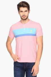 U.s. Polo Mens Regular Fit Henley Neck Stripe T-shirt