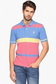 U.s. Polo Mens Regular Fit Stripe Polo T-shirt