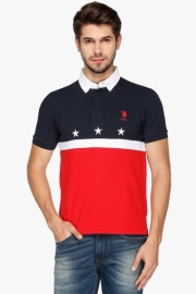 U.s. Polo Mens Regular Fit Colour Block Polo T-shirt
