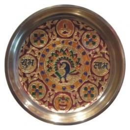 Golden Meenakari Pooja/shagun Thali - S