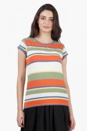 Levis Womens Round Neck Striped T-shirt