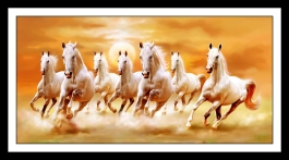 Beautiful Horse Running Photo Sparkle Print With Attractive Molding Framing 12 X 18 Inches