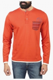 Mens Full Sleeves Henley Neck Solid T-shirt