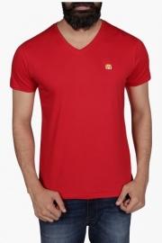 Mens Slim Fit V Neck Solid T-shirt
