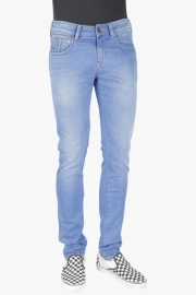 Mens Skinny Fit 5 Pocket Mild Wash Jeans (vegas Fit)