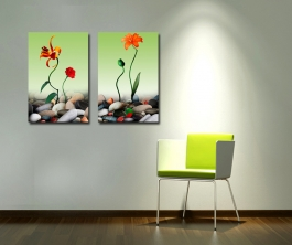 Om Sai Home Decor Office Decor (2 Pieces) Eco Vinyl With Frame Size 1,14x20 , 2,14x20,