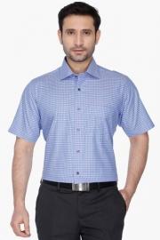 Mens Short Sleeves Slim Fit Formal Check Shirt