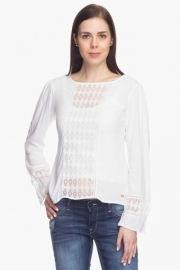 Park Avenue Womens Lace-detailed Top