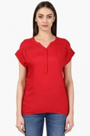 Park Avenue Womens Mandarin Neck Solid Top