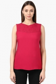 Park Avenue Womens Round Neck Embroidered Solid Top