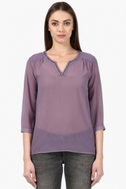 Park Avenue Womens Notched Neck Solid Top