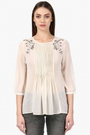 Park Avenue Womens Round Neck Solid Embroidered Solid Top