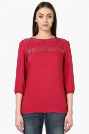 Park Avenue Womens Round Neck Lace Solid Top