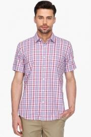 Mens Short Sleeves Casual Check Shirt