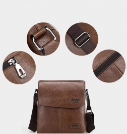 Jeep Cross Body Shoulder Genuine Leather Bag For Mens