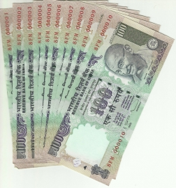 D.subbarao 100 Rs Set Of 10 Note From 000001 To 000010 Series Note Set