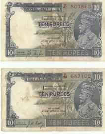Kgv 10 Rupees Pair Jb Taylor Thick Paper And J W Kelly