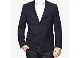 Navy Blue Solid Regular Fit Blazer