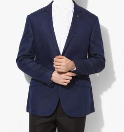 Navy Blue Striped Slim Fit Jackets & Blazer