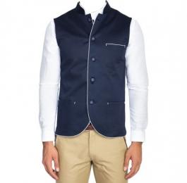 Blue Twill Nehru Jacket