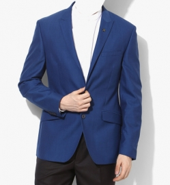 Blue Striped Slim Fit Jackets & Blazer