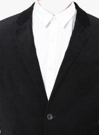 Black Solid Jackets & Blazers