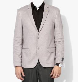 Grey Solid Jacket & Blazer