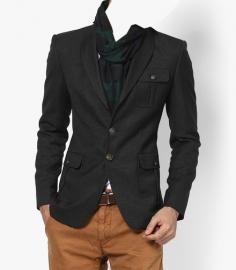 Solid Charcoal Grey Blazer