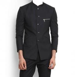 The Black Shiny Bandhgala Blazer