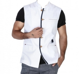 White  Linen Nehru Jacket