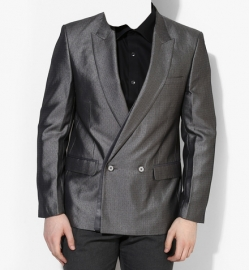 Grey Printed Slim Fit Blazer For Men