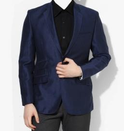 Blue Solid Slim Fit Blazer For Men